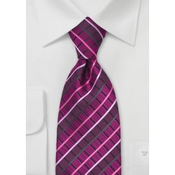 Hot Pink Checkered Tie