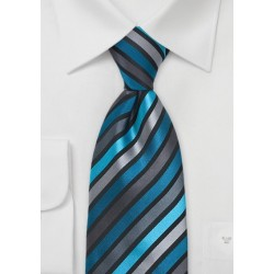Teal, Aqua, and Gray Striped Tie in XL