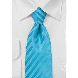 Aqua Blue Striped Tie