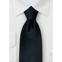 Solid Black Silk Necktie