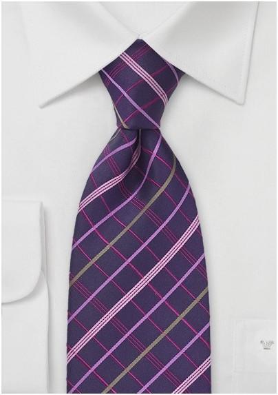Plum Purple Plaid Tie