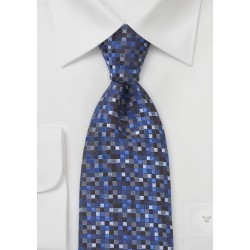 Geometric Squared Tie in Blues