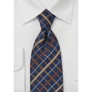 Power Plaid Tie in Navy