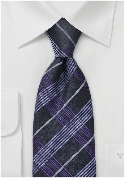 Modern Plaid in Purple and Black