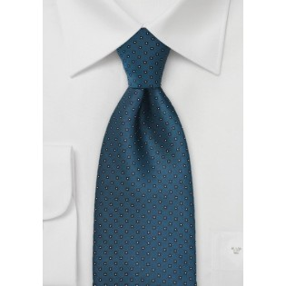 Peacock Blue Tie with Micro Squares