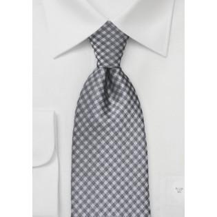 Heather Grey Gingham Tie