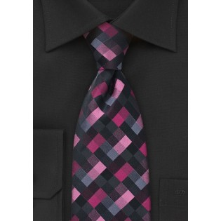 Patchwork Patterned Tie in Pinks and Blacks