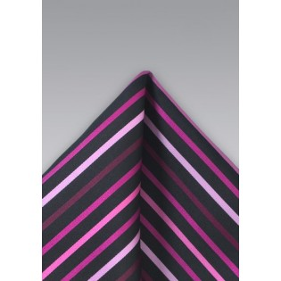 Striped Pink and Black Pocket Square