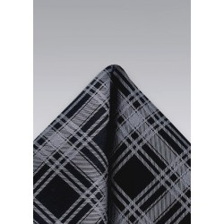Black and Graphite Pocket Square