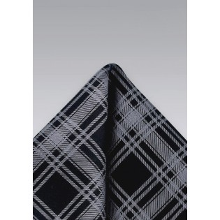 Black and Graphite Pocket Square