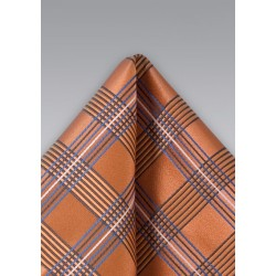 Modern Plaid Pocket Square in Orange
