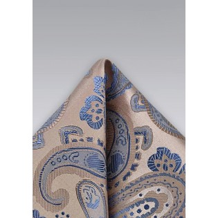 Champagne and Blue Paisley Pocketsquare