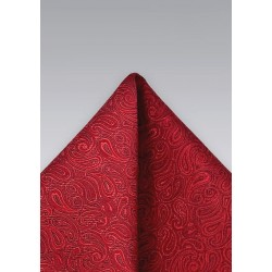 Tonal Red Paisley Pocket Square