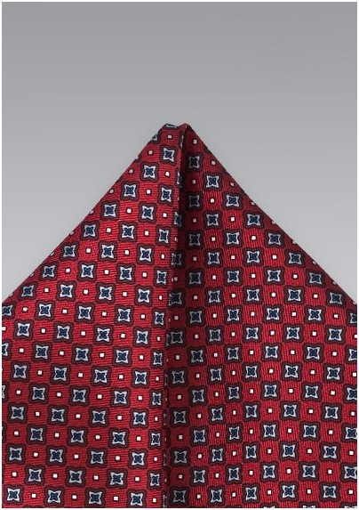 Diamond Patterned Pocket Square in Red