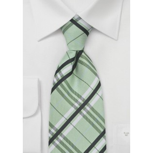 Plaid Patterned Tie in Pistachio Green