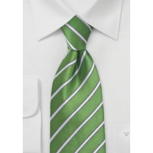 Organic Green and White Striped Tie
