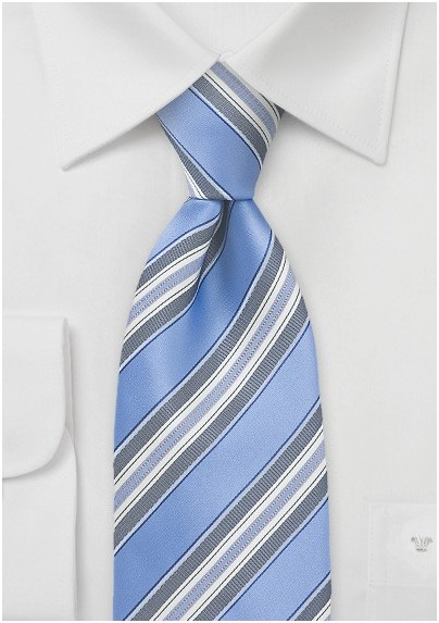 Striped Tie in Blue and Grey
