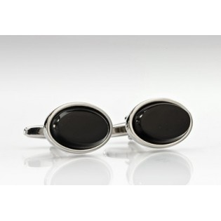 Oval Cufflinks in Black and Silver