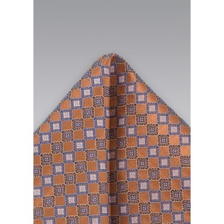 Burnt Orange Patterned Pocket Square