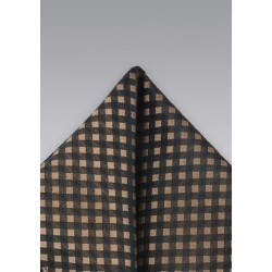 Brown & Black Gingham Check Pocket Square