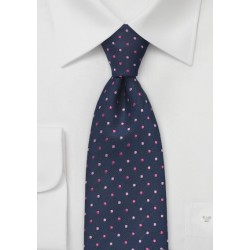 Navy Tie with Pink Polka Dots