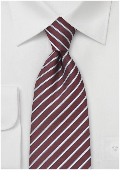 Striped Tie in Burgundy and Silver