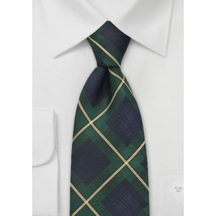 Tartan Plaid Tie in Navy and Green