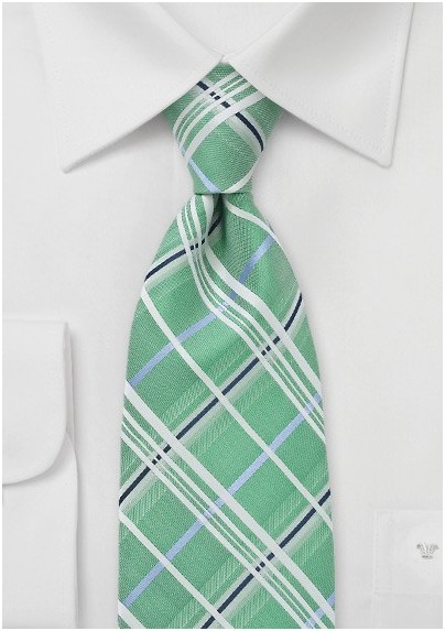 Plaid Tie in Mint Green