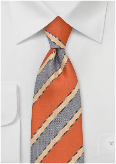 Modern Striped Tie in Orange