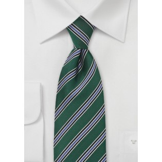 Striped Tie in Green, Black and Blue