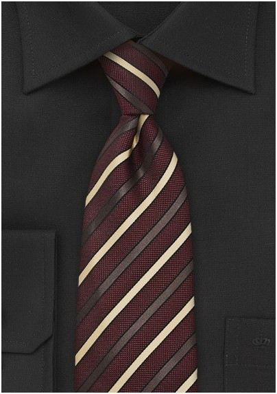 Regal Striped Tie in Burdundy and Gold
