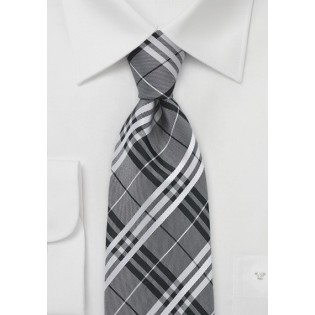 Modern Plaid Tie in Silver and Black
