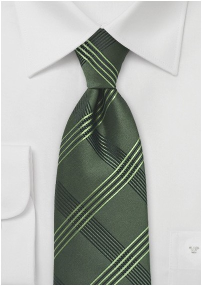 Graphic Plaid Tie in Olive Green