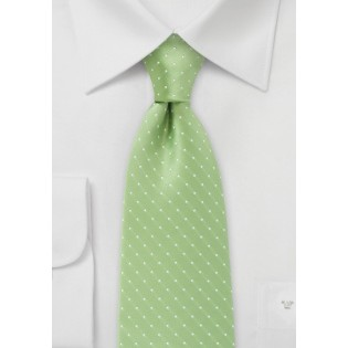XL Length Light Green Polka Dot Tie