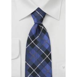 Tartan Plaid Tie in Royal Blue