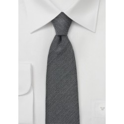 Worsted Wool Gray Skinny Tie