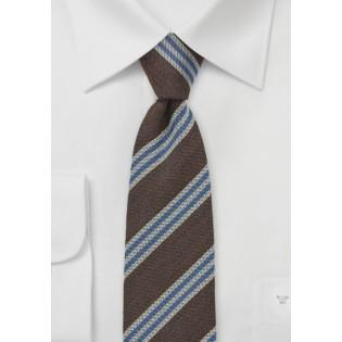Slim Tie by BlackBird in Brown, Blue, Gray