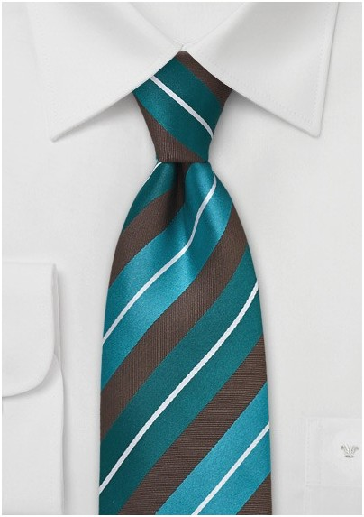 Modern Teal and Brown Striped Tie