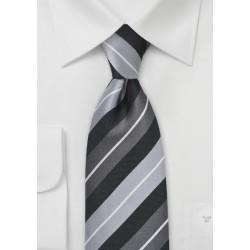 Wide Silver Stripe Tie