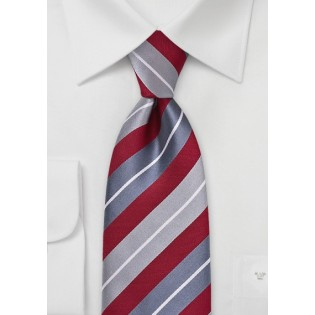 Silver and Red Striped Necktie
