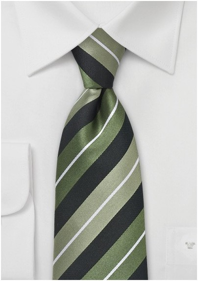 Striped Tie in Sage Greeens