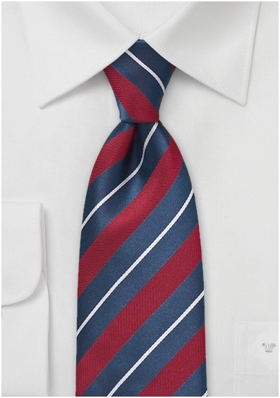 Tailored Red and Blue Striped Tie