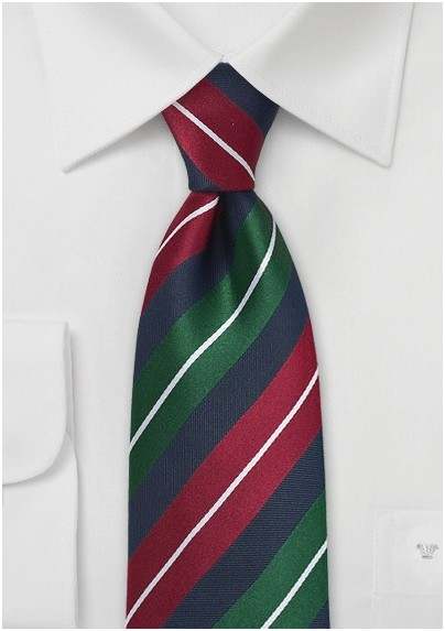 Striped Tie in Red, Hunter-Green, and Navy