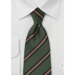XL Length Regimental Tie in Dark Green