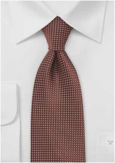 Pin Dot Patterned Tie in Bronze