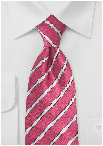 Kids Necktie in Pink and Light Silver