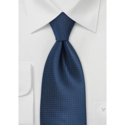 Extra Long Textured Tie in Dark Blue