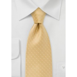 XL Length Polka Dot Tie in Dark Yellow