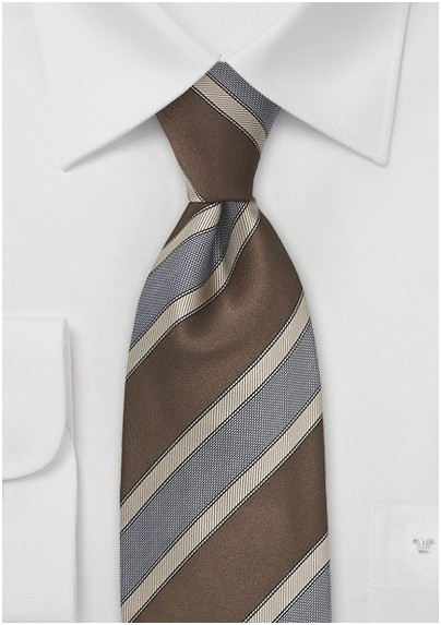 Striped Tie in Cognac