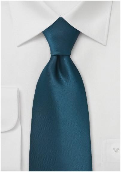 Dark Teal Blue Tie in Kids Length